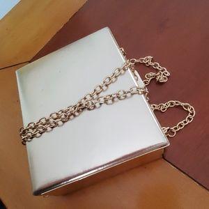 Gold box purse with chain Aldo